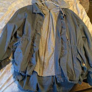 Blue and grey hoodie